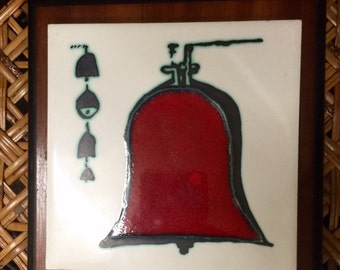 Anne Wynn Reeves - Kenneth Clark Ceramics 1960s mounted Red Bell Tile