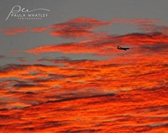 Australia sunset, airplane photo, airplane print, airplane at sunset, sunset photo, sunset photograph, sunset print, airplane photo