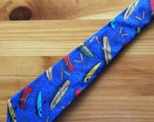 Canoes and Kayaks on Royal Blue Necktie with Free Gift Box, Kayak Tie, Kayak Necktie, Canoe Tie, Canoe Necktie