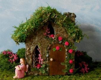 Fairy House, Fairy Garden,FREE SHIPPING,Miniature Garden House, Outdoor Fairy House, Stone Cottage Garden Decor, Pink Rose, English Garden