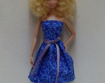 "Blue 11.5"" Fashion Doll Dress Handmade"