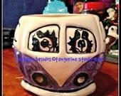 whimsical ceramic vw bus hand painted bernese mountain dog VW BUS mug love hippie  original maggie brudos tangerine studio
