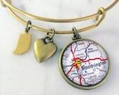 Bloomington Indiana Map Charm Bangle Bracelet - Personalized Map Jewelry