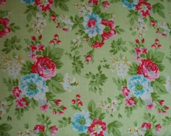Pink and Blue Flowers on Green Cotton Fabric ~ DELILAH Delilah by Tanya Whelan for Free Spirit tw34-green ~ by the yard
