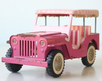 Vintage Pink Jeep, Tonka, Pink Stripes, Covered Toy Jeep, 1962