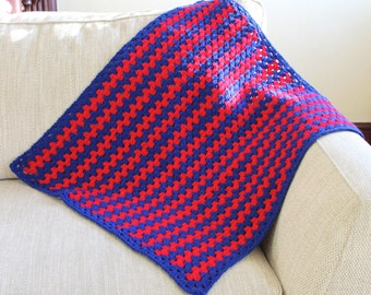 Red & Blue granny stripe blanket
