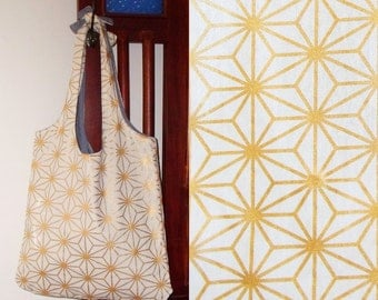Tote bag with gold stars - heavy cotton, lined, ready to ship