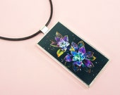PENDANT NECKLACE Flowers Jewelry Domino Black Leather Cord 18 inch +2 in adjustable Chain Iridescent Gorgeous