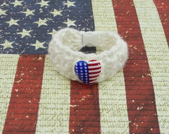 KIDS BRACELET White with American Flag Heart Button Crochet Girls Cuff Paracord Buckle Cute Jewelry Toddler Child Tween 4th of July