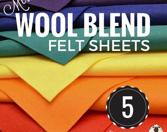 5 or 10 Merino Wool Felt Sheets, Wool Felt Bundle, Wool Blend Felt, Wool Felt Fabric, Felt Sheets, Craft Felt Sheets, Choose your Colors