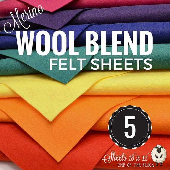 5 or 10 Merino Wool Felt Sheets, Wool Felt Bundle, Wool Blend Felt, Wool Felt Fabric, Wool Felt Sheets, Craft Felt Sheets, Merino Wool Felt