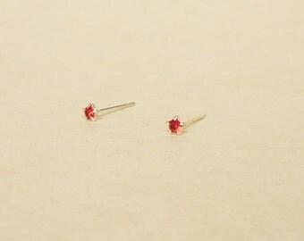 3 mm Teeny Tiny Red Crystal 925 Sterling Silver 5 Prongs Star Stud Earrings,Bridesmaid Gift,Hypoallergenic Earrings,Cartilage Earring