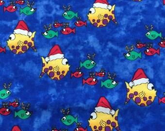 Christmas Santa Fish Fabric - 2 yards Michael Miller