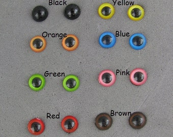 22 Pair Plastic Eyes with Straight Stems 4mm or 5mm Mix Colors For Miniature Projects For Needle Felting, Sculpture, Crafts (  PPE-1 )