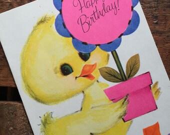 Vintage Cute Duck Birthday Greeting Card - Unused