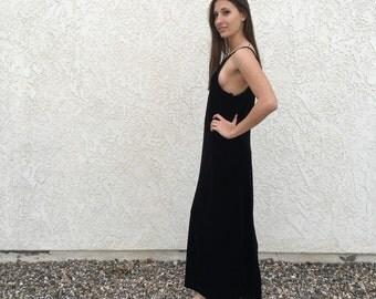 90s long black velvet slip dress