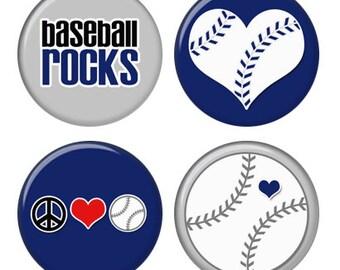Baseball Rocks Magnets or Pinback Buttons or Flatback Medallions Set of 4