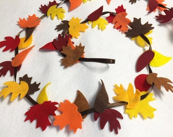 Fall Garland, Fall Leaves, Autumn Leaves Garland, Mantle Decoration - Made to Order, Nursery Decor, Wedding and Party Decoration