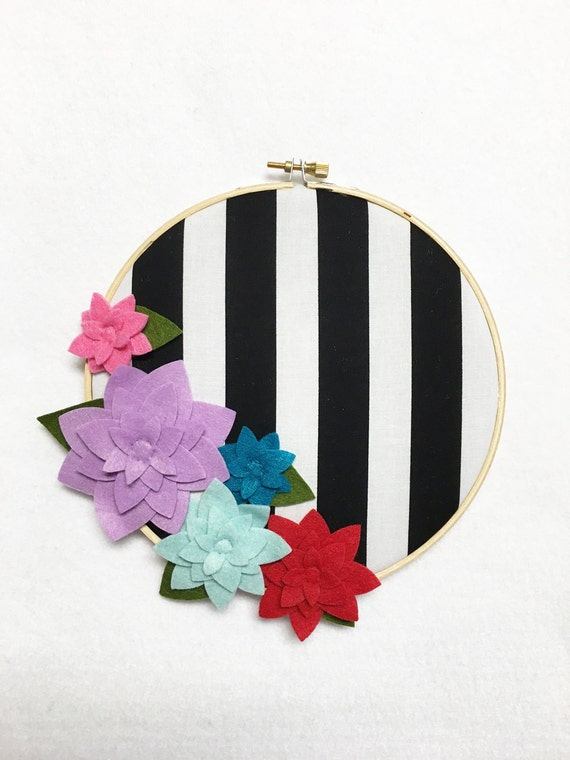 Flower Wall Art, Embroidery Hoop Art, Bold Stripes, Floral Wall Decor, Hoop Wall Hanging, Felt Flower Hoop, Gift for Teacher, Gift Under 20