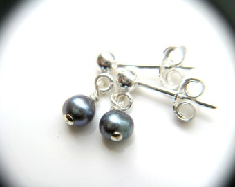 Purple Pearl Stud Dangle . Purple Freshwater Pearl Earrings . Little Girl Jewelry . Small Pearl Earring Stud Sterling - Charlotte Collection