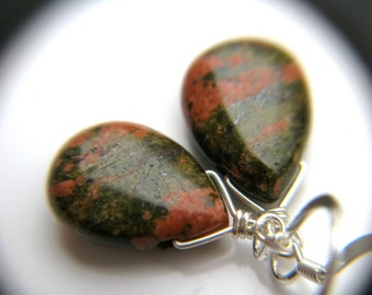Dark Green Earrings . Green Stone Earrings . Unakite Earrings . Dark Green Teardrop Earrings Sterling Silver - Tocantins Collection