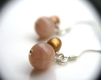 Sunstone Jewelry . Dainty Dangle Earrings . Peach Earrings . Science Jewelry . Small Stone Earrings - Antares A Collection . Orb Series