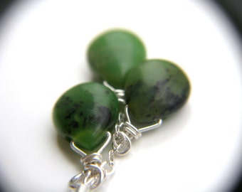 Chrysoprase Earrings . Green Stone Earrings Dangle . Sterling Silver Wire Wrapped Gemstone Cluster Earrings - Aphelion Collection