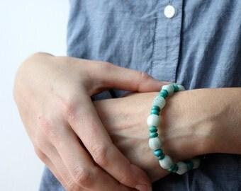 Amazonite Bracelet . Blue Stone Bracelet . Chunky Beaded Gemstone Bracelet . Genuine Turquoise Bracelet - Antigua Collection Collection