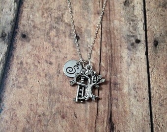 Tree House initial necklace - tree house jewelry, silver treehouse necklace, tree jewelry, tiny house necklace