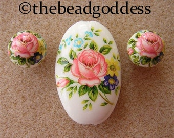 New Lovely JAPANESE TENSHA Beads Pink Rose White Oval SET