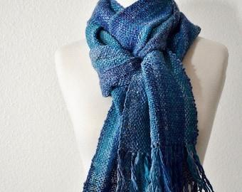 Sale Wool & Linen Scarf in Blues - Handwoven Scarf in Soft Merino Linen Blend Handspun Yarn. Rustic, Chic, Woodland, Forestry, Fringe. Ocean