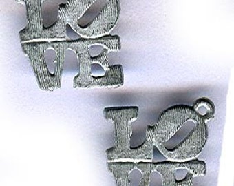 vintage love charm 1960s silvertone ROBERT INDIANA love pendants or charms ICONIC design iconic charms three pieces