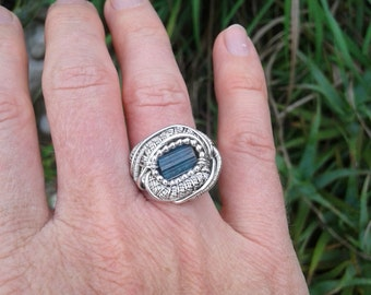 Wire Wrapped Ring, Tourmaline Ring, Blue Tourmaline, Heady Wire Wrap, Sterling Silver