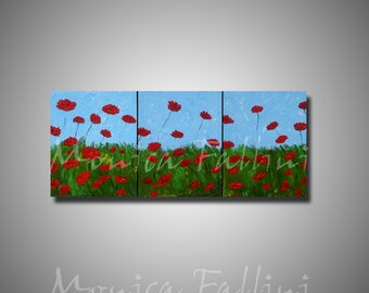 Red Poppies 3 canvas painting 22 x 54 inches modern fine art palette knife texture by Fallini