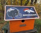 NFL Denver Broncos Football License Plate Birdhouse Fully Functional Wooden Outdoor Birdhouse Handmade Bird House