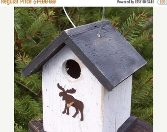 SUMMER SALE White Primitive Birdhouse Rusty Metal moose  Chickadee Wren Cute Songbirds