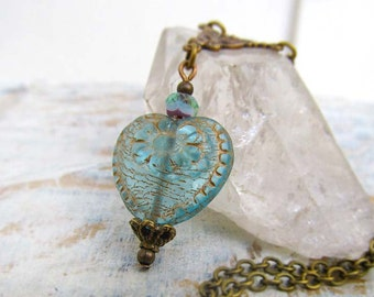 Valentine jewelry Aqua heart necklace Gift for her simple Victorian jewelry