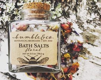 Bath Salts | Floral Bathing Salts | All Natural Mineral Sea Salt Bath | Bath Soak | Botanical Bathing Salts | Natural Herbal Bath Salts
