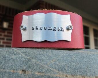 Strength Leather Cuff Bracelet The Strength Red Leather Cuff Bracelet Personalized Hand Stamped