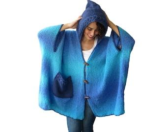 NEW! Over Size Poncho Pelerine Blue - Turquaz