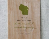 Wooden Save the Date Card, State Pride Real Wood