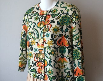 60's Mod Jacket Bold Floral Pattern of Turquoise Green Black and Tangerine on Boxy Jacket Small