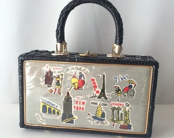1950's Simon Black Vinyl Woven Box Purse with World Travel Barkcloth Panel Amazing!!!