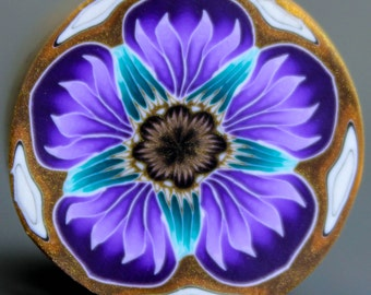 MEDIUM Purple and Teal Polymer Clay Flower Cane (50B)