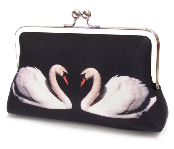 White swan clutch bag, silk purse, two swans, bridal bag, bridesmaid gift, black and white
