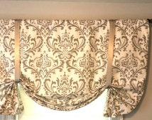 Faux Roman Shade/Butterfly Valance/Tie up Valance/Topper/Stationary Roman Shade/Traditions Storm Twill Premier Prints/Gray/White