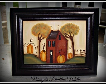 Fall Autumn Primitive Saltbox House Pumpkin 5 x 7 Framed Hand Painted Canvas Home Decor Picture