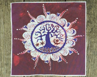 Mulberry Tree of Life Batik Print Patch