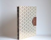 Gold Snowflakes Handbound Book, Large Hard Cover Journal with Reclaimed Leather Closure, Hardcover Blank Book