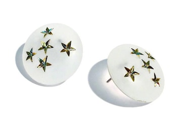 Star Button Stud Earrings | My Stars! Crystal Frosted Gold Studs - vintage lucite earrings
